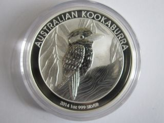 1 Oz 2014 Silver Kookaburra Perth Australian Coin.  999 Fine Silver photo