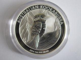 1 Oz 2014 Silver Kookaburra Perth Australian Coin.  999 Fine Silver photo