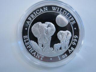 2014 Silver 1 Oz Somali African Wildlife Elephant 100 Shillings.  999 Proof Like photo