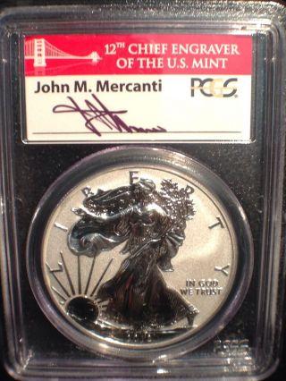 2012 S American Silver Eagle Reverse Proof - Pcgs Pr70 - 75 Anniversary Sf photo