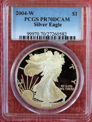 2004 (w) Pf70 Deep Cameo Silver Eagle Graded By Pcgs photo