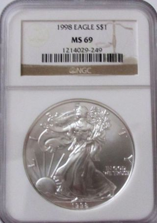 1998 Silver American Eagle Ngc Ms69 photo