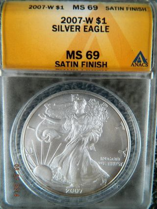 2007 Silver Eagle (w) Burnished Uncirculated Ms69 Grade By Anacs photo