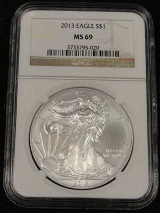 2013 American Silver Eagle Coin Ngc Ms69 5 - 020 photo