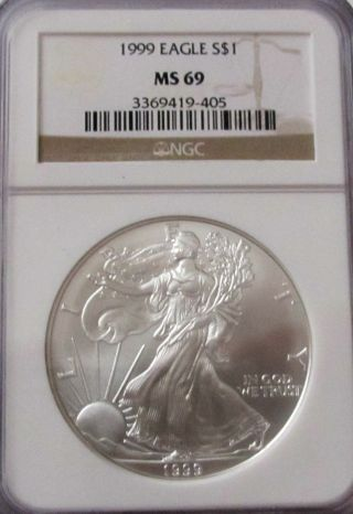 1999 Silver American Eagle Ngc Ms 69 photo