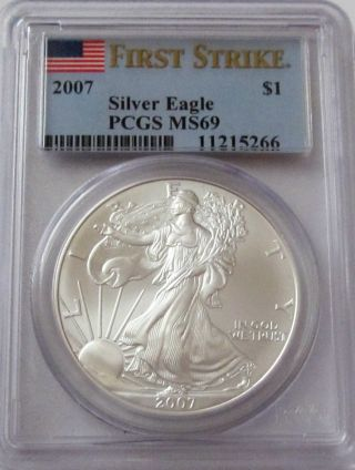 2007 Silver Eagle Pcgs Ms69 First Strike photo