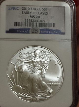 2010 Silver Eagle $1 Early Releases Ngc Ms 70 photo
