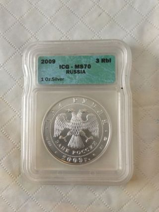 2009 Russia 3 Rbl Icg Ms 70 Silver Coin photo