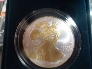2000 1 Oz Silver American Eagle With Gold Dress And Gold Eagle On Reverse photo