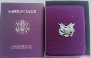 1989 Silver American Eagle One Dollar Proof Coin W/ Box & photo