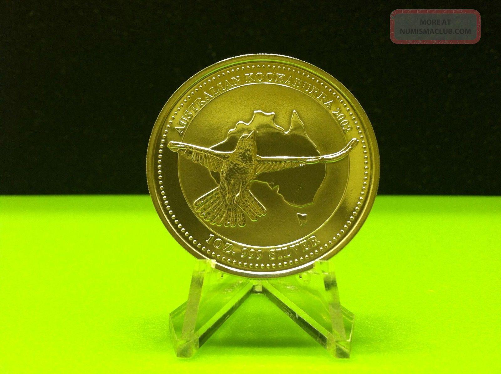 2002 Australian Kookaburra 1 Troy Oz.  999 Silver Round - Lightly Circulated Silver photo