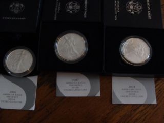 2006 - W,  2007 - W,  2008 - W,  Burnished Silver Eagles - Boxes photo
