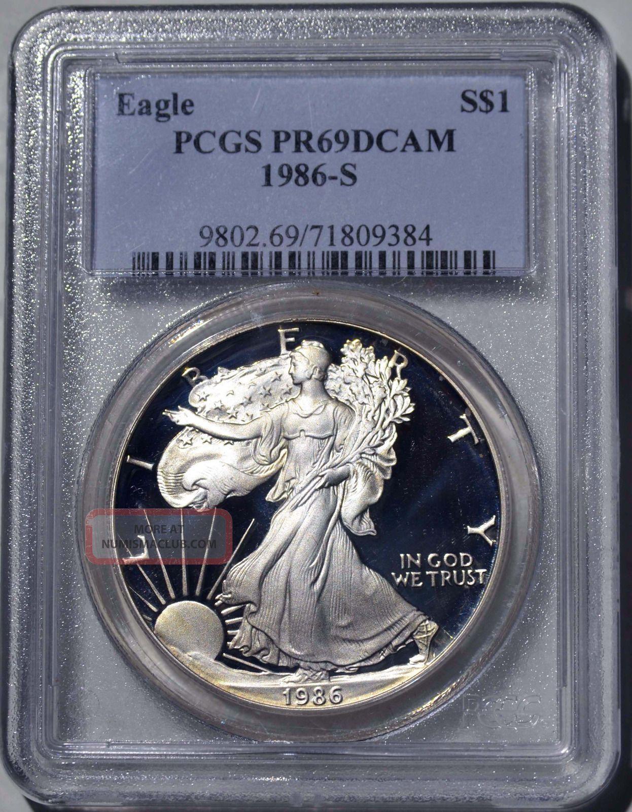1986 - S American Eagle Silver Dollar Pr69 Dcam Pcgs Proof 69 Deep Cameo Silver photo