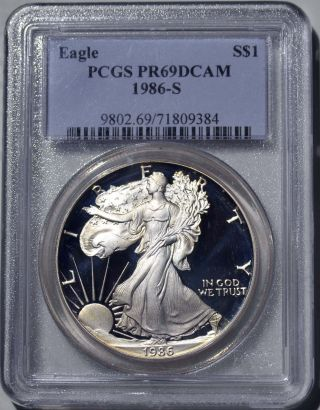 1986 - S American Eagle Silver Dollar Pr69 Dcam Pcgs Proof 69 Deep Cameo photo