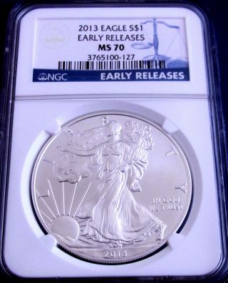 2013 Ms 70 Ngc Certified Early Release American Silver Eagle - Perfect photo