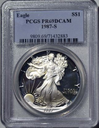 1987 - S American Eagle Silver Dollar Pr69 Dcam Pcgs Proof 69 Deep Cameo photo