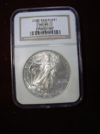 2002,  American Silver Eagle Ms69,  Ngc,  Brown Label,  1 Ounce.  999 Fine Silver photo