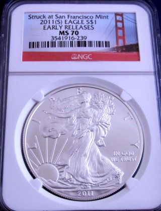 2011 (s) Ms 70 Ngc Early Release Golden Gate Bridge American Silver Eagle Perfect photo
