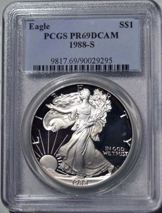 1988 - S American Eagle Silver Dollar Pr69 Dcam Pcgs Proof 69 Deep Cameo photo