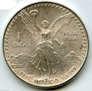 Mexico 1995 Libertad Coin.  999 Silver Plata Pura Onza - 1 Oz Troy - Wfc Kq456 photo