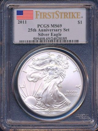 2011 25th Anniversary Silver Eagle Graded Ms69 First Strike Pcgs photo