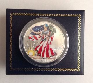American Eagle 1999 Silver Dollar Liberty Painteduncirculated.  999 Silver photo