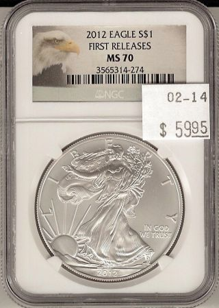 2012 Silver Eagle First Releases S$1 Ms 70 Ngc Cert photo