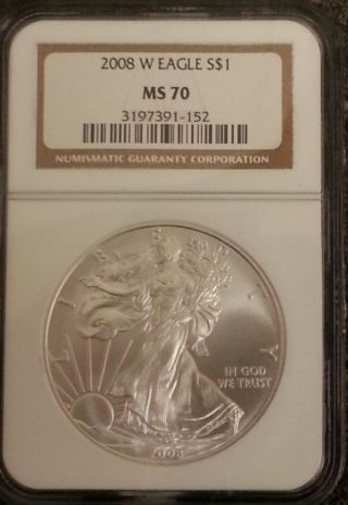 2008 W Silver Eagle Ms70 Ngc photo