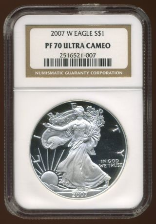 2007 - W U.  S.  Silver American Eagle Proof Coin ++ngc Pr - 70 W/ Ultra Cameo++ photo