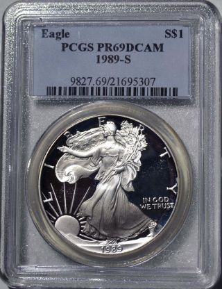 1989 - S American Eagle Silver Dollar Pr69 Dcam Pcgs Proof 69 Deep Cameo photo