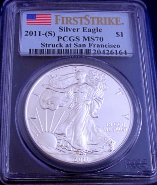 2011 (s) Ms 70 Pcgs San Francisco First Strike American Silver Eagle photo