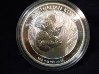 2013 Australia Koala Unc State 10oz $10 Silver 0.  999 Coin Perth Australia photo