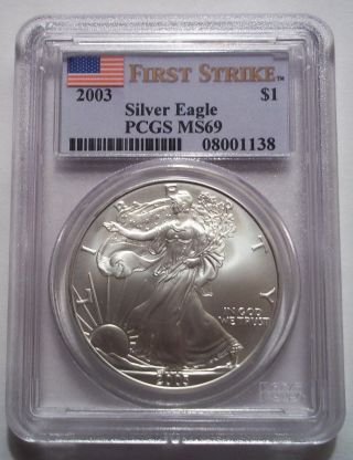 2003 Silver American Eagle Dollar $1 Pcgs Ms69 First Strike Rare photo