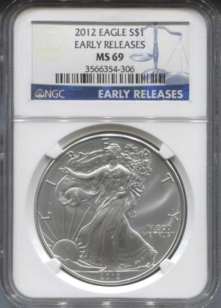 2012 Early Releases Ngc Ms69 American Silver Eagle photo