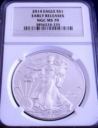 2014 Ms 70 Ngc Certified Early Release American Silver Eagle - Silver Foil Label photo