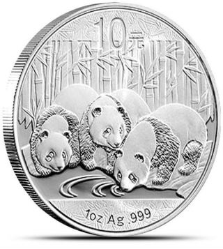 2013 China 1 Troy Oz.  999 Fine Silver Panda 10 Yuan Coin In Protective Case photo