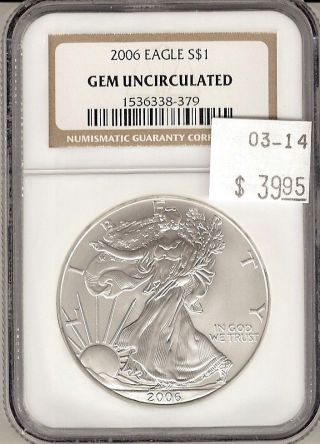 2006 American Silver Eagle S$1 Gem Uncirculated Ngc Certified photo