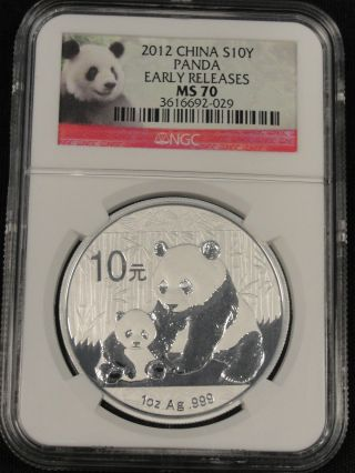2012 Chinese Silver Panda Perfect Ngc Ms70 Early Releases 10 Yuan.  999 Silver photo