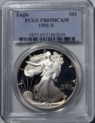 1992 - S American Eagle Silver Dollar Pr69 Dcam Pcgs Proof 69 Deep Cameo photo