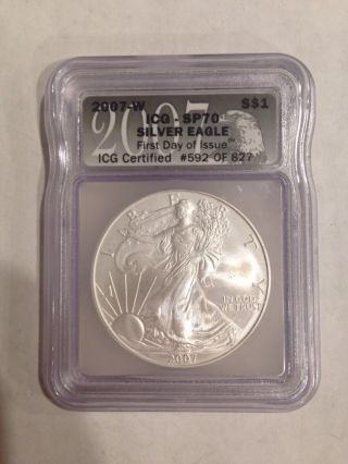 2007 W Silver Eagle Sp70 First Day Of Issue 592 Of 827 photo