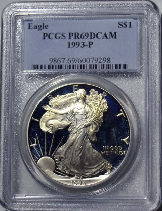 1993 - P American Eagle Silver Dollar Pr69 Dcam Pcgs Proof 69 Deep Cameo photo