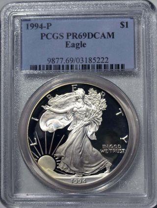 1994 - P American Eagle Silver Dollar Pr69 Dcam Pcgs Proof 69 Deep Cameo photo