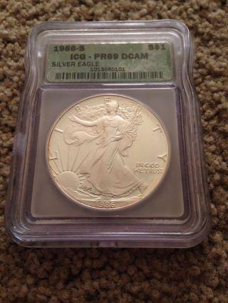 1986 - S $1 Silver Eagle Proof Bullion Coin - - Icg Pr69 photo