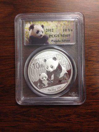 2012 China Silver Panda Coin Pcgs Ms69 Coin 1 Troy Oz Ounce Silver photo