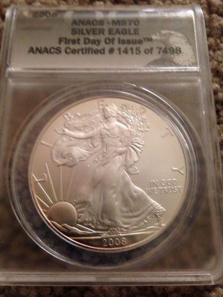 2008 $1 Silver Eagle Bullion Coin Anacs Ms - 70.  Graded Perfect - - Nr photo