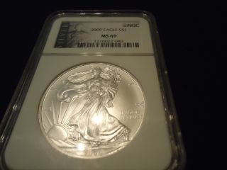 2009 Silver Us American Eagle 1 Ounce.  999 - Ngc Ms 69 photo
