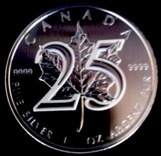 2013 Silver 25th Anniversary $5 Maple Leaf Brilliant Uncirculated.  9999 1 Oz photo