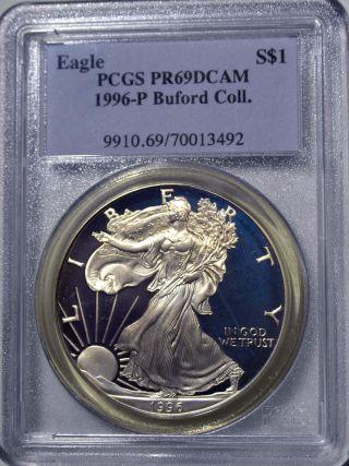 1996 - P American Eagle Silver Dollar Pr69 Dcam Pcgs Proof69 Deep Cameo Buford Col photo
