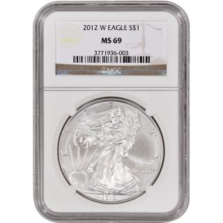 2012 - W American Silver Eagle - Uncirculated Collectors Burnished - Ngc Ms69 photo