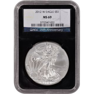 2012 - W American Silver Eagle Uncirculated Burnished Ngc Ms69 ' Retro ' Black Core photo